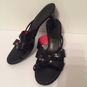 ⭐️COLE HAAN SHOES HEELS SANDALS BLACK LEATHER 7.5